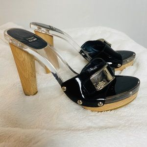 STUART WEITZMAN | clear and wood mules size 6